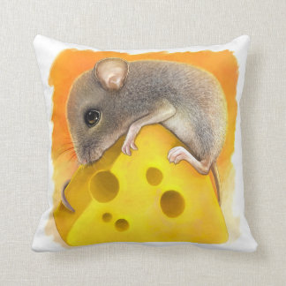 Mouse on cheese realistic painting cushion