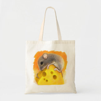 Mouse on cheese realistic painting canvas bag