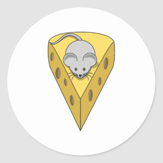 Mouse on cheese round sticker