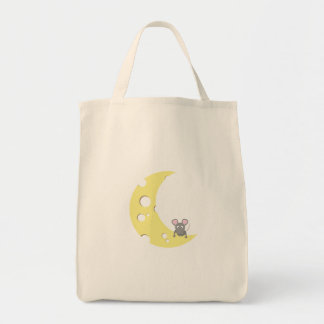 mouse on the cheese moon grocery tote bag