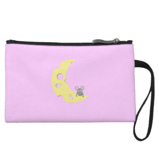 mouse on the cheese moon wristlet clutch