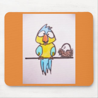 MOUSE PAD - CARTOON PARROT WITH BIG EGG