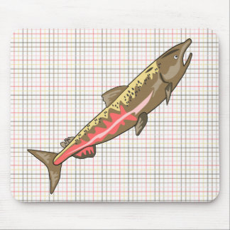 Mouse Pad - Chinook Salmon on Plaid