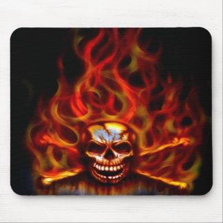 Mouse Pad - Flaming Skull