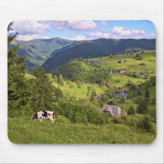 Mouse pad: Meadows and a cow with panorama view Mouse Mat