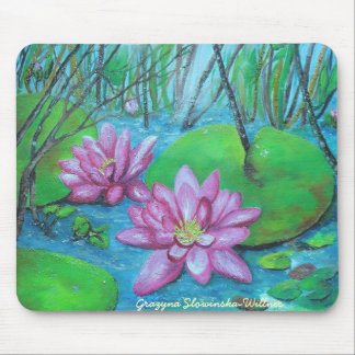 Mouse PAD, pond roses,