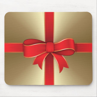 Mouse Pad - Red Bow & Ribbon on Gold