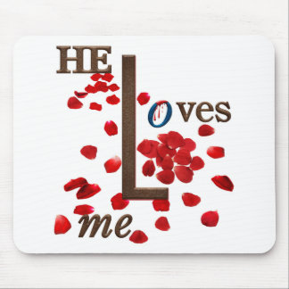 mouse pad with love message on red rose petals