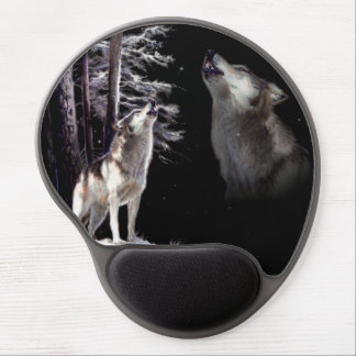 Mouse Pad Wolf howling Imagery of His Mate in Ski Gel Mousepad