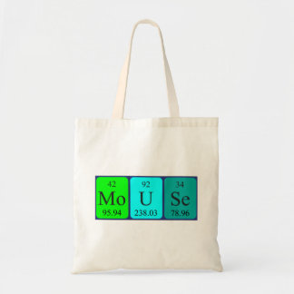 Mouse periodic table name tote bag