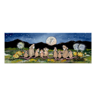 Mouse Rat Rodent Watching Moon Poster Navy Sweet
