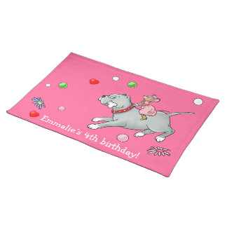 Mouse riding on Dog  -  Customise Cartoon Placemat