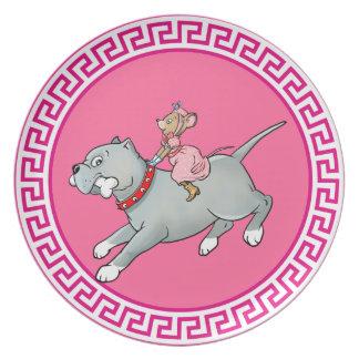 Mouse riding on Dog  -  Customise Cartoon Plate