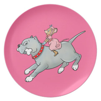 Mouse riding on Dog  -  Customise Cartoon Plate