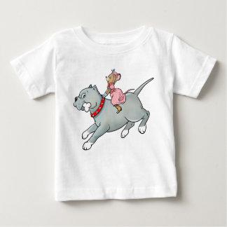 Mouse riding on Dog  -  Customise Cartoon T-shirt