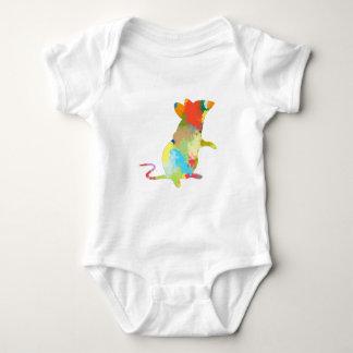 Mouse Shape colorful Splash Design Baby Bodysuit