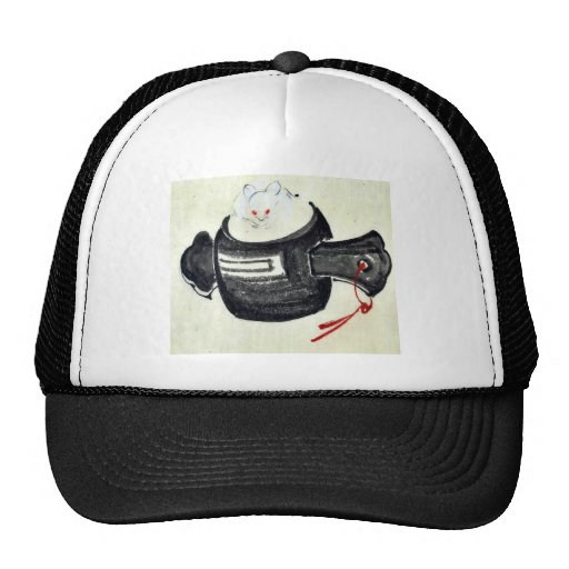 Mouse sitting on a mallet with red ribbon trucker hat