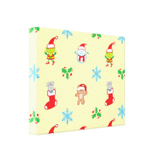 Mouse, snowman, teddy and elf Christmas pattern Canvas Print