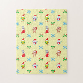 Mouse, snowman, teddy and elf Christmas pattern Jigsaw Puzzle