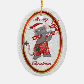 Mouse Tunes Santa Christmas Ornament