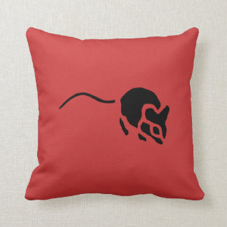 Mouse Vintage Wood Engraving Cushion