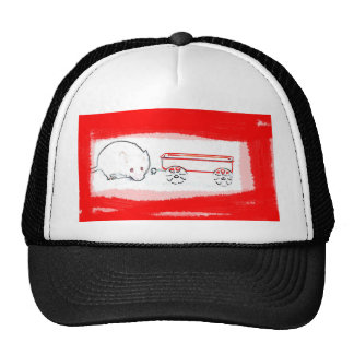 mouse wagon outline with red cute animal cap