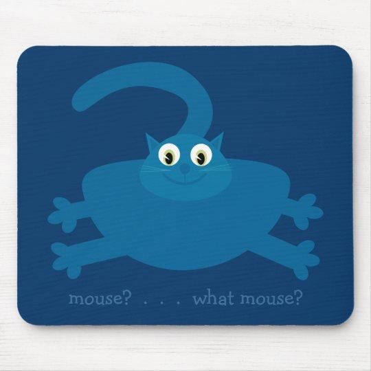 Mouse? What mouse? Blue Cartoon Fat Cat Mouse Mat