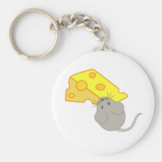 Mouse with Cheese Basic Round Button Key Ring