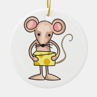 MOUSE WITH CHEESE ROUND CERAMIC DECORATION