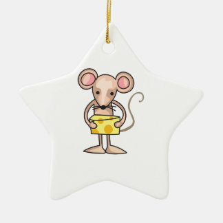 MOUSE WITH CHEESE CERAMIC STAR DECORATION
