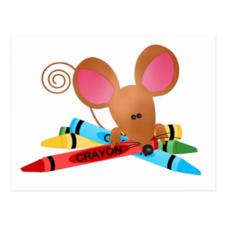 Mouse with Crayons Postcard