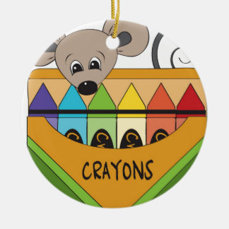 mouse with crayons round ceramic decoration