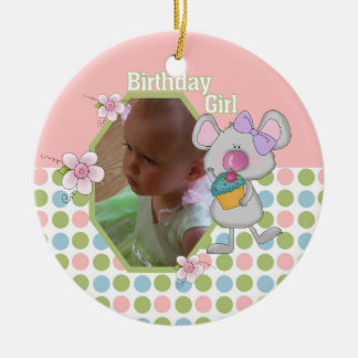 Mouse with Cupcake Birthday Girl Keepsake Ornament