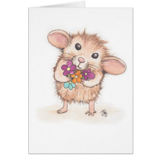 Mouse with Flower Bouquet Mother's Day Card