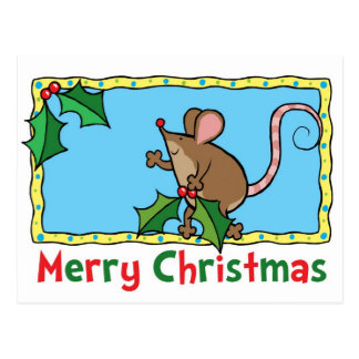 Mouse with holly postcard