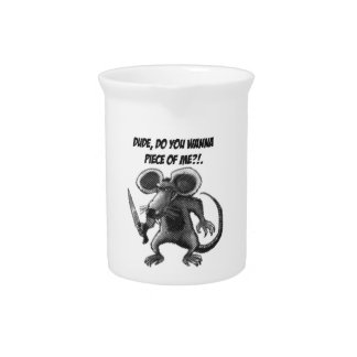 mouse with knife funny cartoon beverage pitchers
