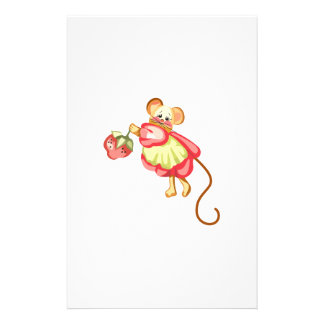 MOUSE WITH STRAWBERRY CUSTOM STATIONERY