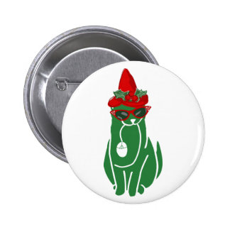 Mousebreath Christmas Cat 6 Cm Round Badge