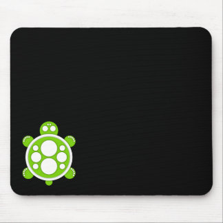Mousemat, round turtle, white, lime green, black mouse mat