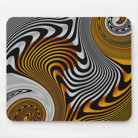 Mousepad Abstract Orange Black Silver Design