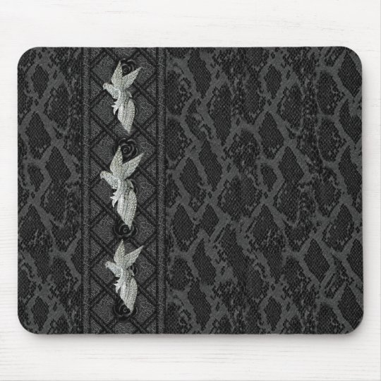 Mousepad Black Leather Bird Jewel (047-015)