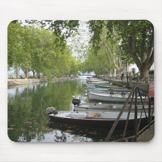 Mousepad: Boats, Canal, Lake Annecy, France Mouse Mat
