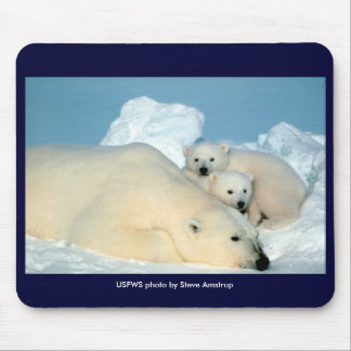 Mousepad / Endangered / Polar Bear & Cubs