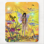 Mousepad Fantasy Art Yellow Fairy Flowers