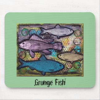 Mousepad, Grunge Fish, Mixed Media Art Mouse Mat