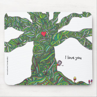 Mousepad - I love you - tree with character