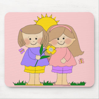 Mousepad Kid's Two Best Friends Girls 2 Pink