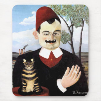 "Mousepad:  ""Man & Cat"" by Henri Rousseau"