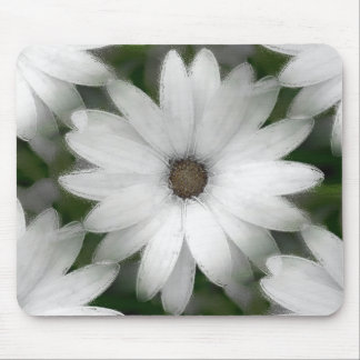 Mousepad or Mousemat - African Daisy in White