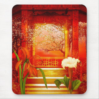 Mousepad Red Golden Yellow Floral